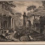 Veduta della porta dell'antica città di Pompei, Disegnatore Jean-Louis Desprez Incisore Francesco Piranesi
