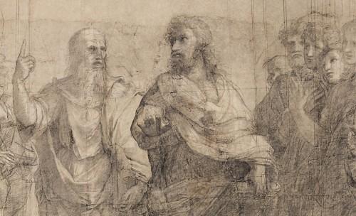 2a. Raffaello, Scuola di Atene, cartone, particolari