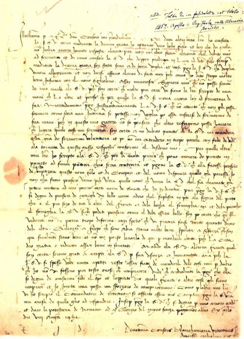 Lettera nascita Ludovico il Moro