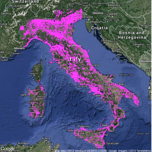 Diffusione di post su Twitter in Italia