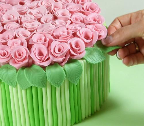 Mazzo Di Fiori Con Pasta Di Zucchero.Torta Bouquet Di Rose Tutorial Cake
