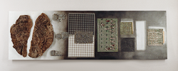 Vincenzo Balena: Pagina 10 - 2001 - legno, piombo, plexiglass e altro - cm. 50 x 160 x 8
