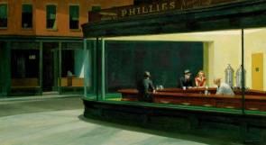 """Il famoso quadro di Edward Hopper """"Nighthawks"""" (1942), in cui si identifica """"il silenzio della modernità"""""""