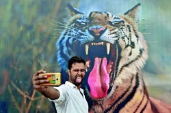 TOPSHOT - An Indian visitor poses for a photograph in front of a picture of a tiger displayed on the last day of the 'Bharat Parav' festival at the India Gate lawns in New Delhi on August 18, 2016. The Bharat Parv festival, organised as a part of celebrations of Independence Day, runs from 12 - 18 August in New Delhi. / AFP / SAJJAD HUSSAIN (Photo credit should read SAJJAD HUSSAIN/AFP/Getty Images)
