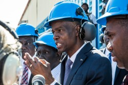 Haitian President Jovenel Moïse visits the Varreux power plants (Cité Soleil) on December 16, 2019 in Port-au-Prince, Haiti. (Photo by Valerie Baeriswyl / AFP) (Photo by VALERIE BAERISWYL/AFP via Getty Images)